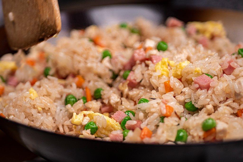 stirring fried rice